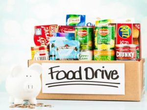 image of box of food drive food and a piggy bank